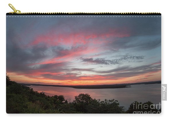 Pink Skies And Clouds At Sunset Over Lake Travis In Austin Texas Carry-all Pouch