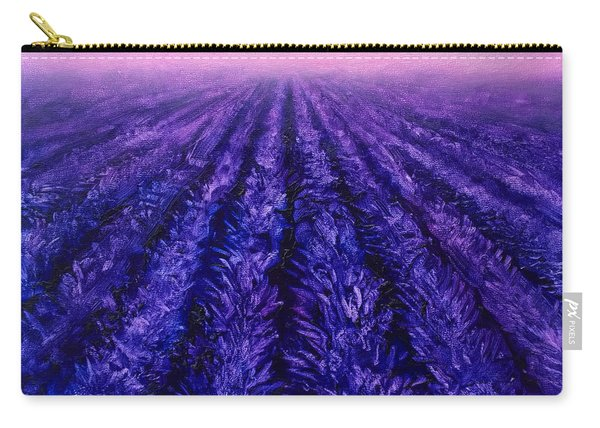 Abstract Lavender Field Landscape - Contemporary Landscape Painting - Amethyst Purple Color Block Carry-all Pouch