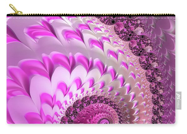 Pink Spiral With Lovely Hearts Carry-all Pouch
