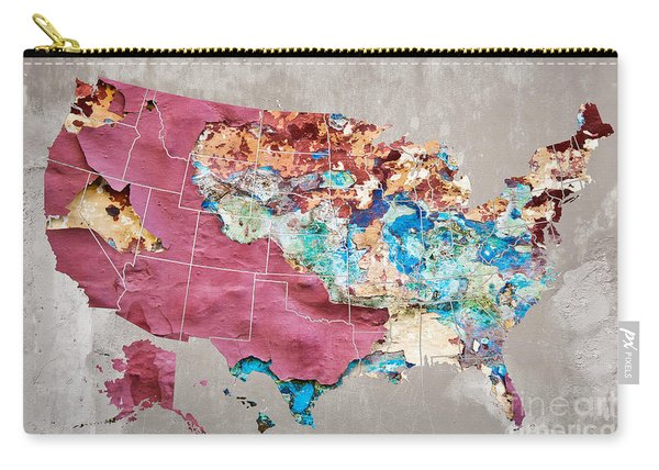 Pink Street Art Us Map Carry-all Pouch