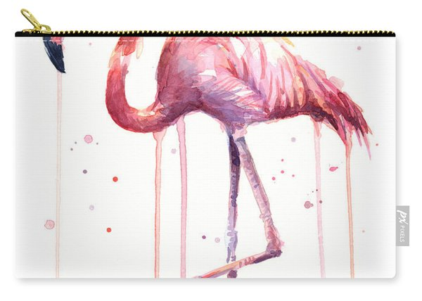 Pink Watercolor Flamingo Carry-all Pouch