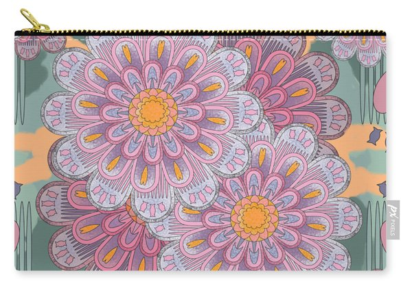 Pink Zinnia Mandala Carry-all Pouch