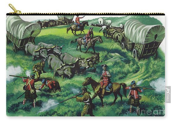 Pioneers Under Attack From Native American Indians Carry-all Pouch