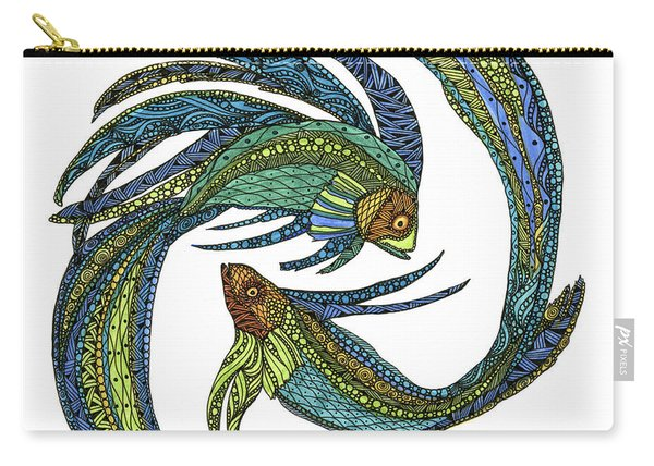 Carry-all Pouch featuring the drawing Pisces by Barbara McConoughey