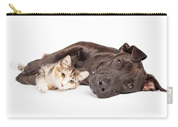 Pit Bull Dog And Kitten Cuddling Carry-all Pouch