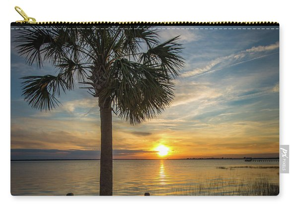 Carry-all Pouch featuring the photograph Pitt Street Bridge Palmetto Tree Sunset by Donnie Whitaker