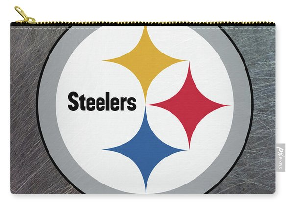 Pittsburgh Steelers On An Abraded Steel Texture Carry-all Pouch