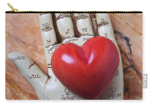Plam Reader Hand Holding Red Stone Heart Carry-all Pouch