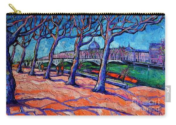 Plane Trees Along The Rhone River - Spring In Lyon By Mona Edulesco Carry-all Pouch