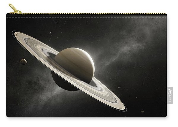 Planet Saturn With Major Moons Carry-all Pouch