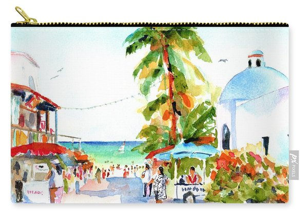 Playa Del Carmen Shops And Church Carry-all Pouch