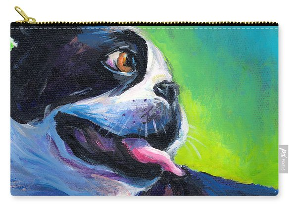 Playful Boston Terrier Carry-all Pouch
