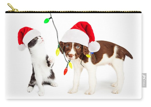 Playful Christmas Kitten And Puppy Carry-all Pouch