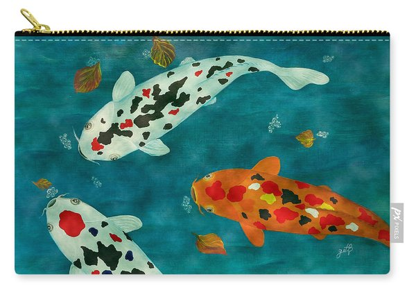 Playful Koi Fishes Original Acrylic Painting Carry-all Pouch