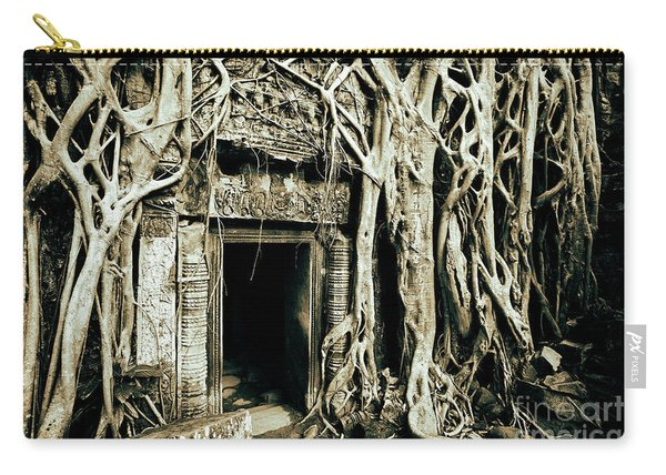 Carry-all Pouch featuring the photograph Playing Indiana Jones At Ta Prohm Temple, Angkor Archaeological Park, Cambodia, Southeast Asia by Sam Antonio Photography