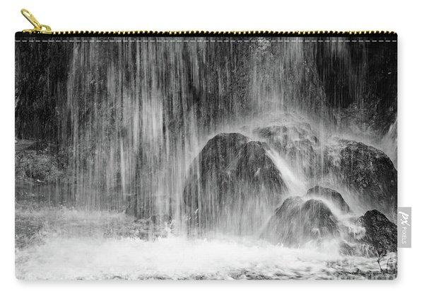 Plitvice Waterfall Black And White Closeup - Plitivice Lakes National Park, Croatia Carry-all Pouch