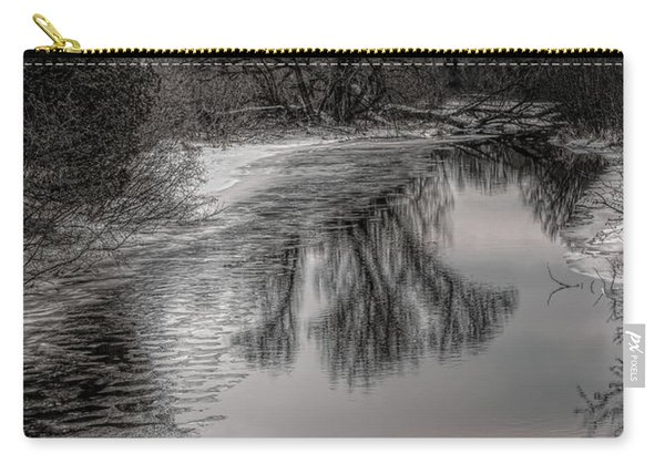 Plover River Black And White Winter Reflections Carry-all Pouch