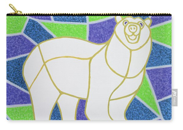 Polar Bear On Stained Glass Carry-all Pouch