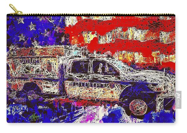 Carry-all Pouch featuring the mixed media Police Truck by Al Matra