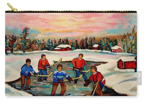 Pond Hockey Countryscene Carry-all Pouch