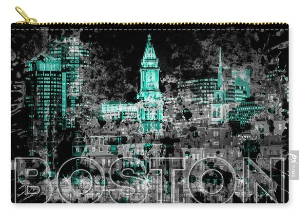 Pop Art Boston Skyline - Cyan Carry-all Pouch