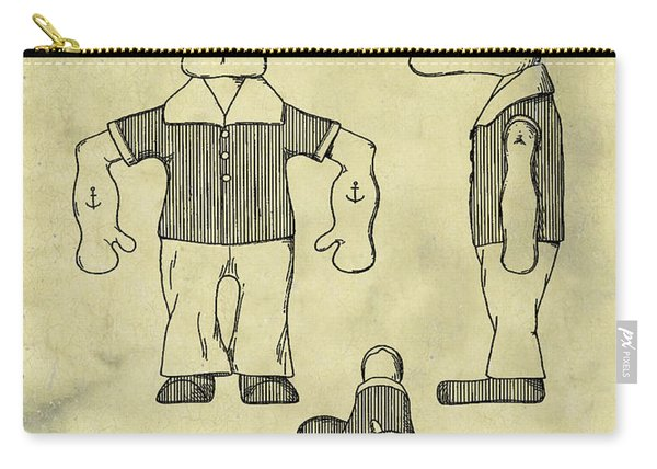 Popeye Doll Patent 1932 In Weathered Carry-all Pouch