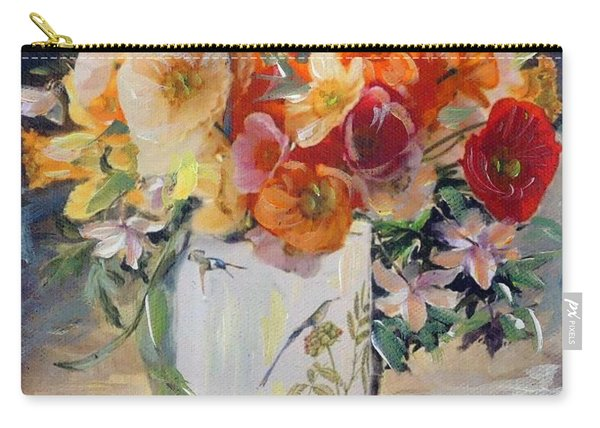 Carry-all Pouch featuring the painting Poppies, Clematis, And Daffodils In Porcelain Vase. by Ryn Shell