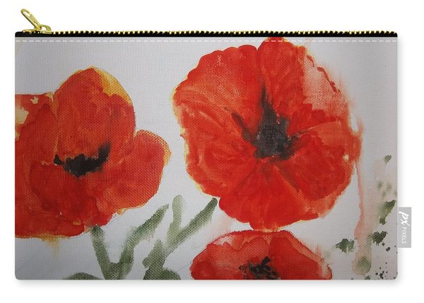 Poppies On Linen Carry-all Pouch