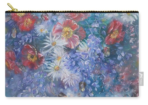Carry-all Pouch featuring the painting Poppies, Wisteria And Marguerites by Ryn Shell