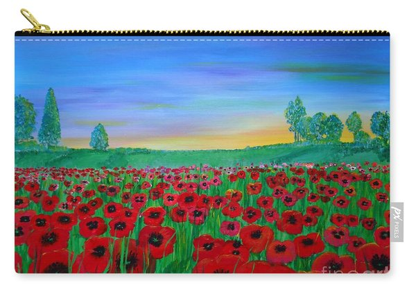 Poppy Field At Sunset Carry-all Pouch
