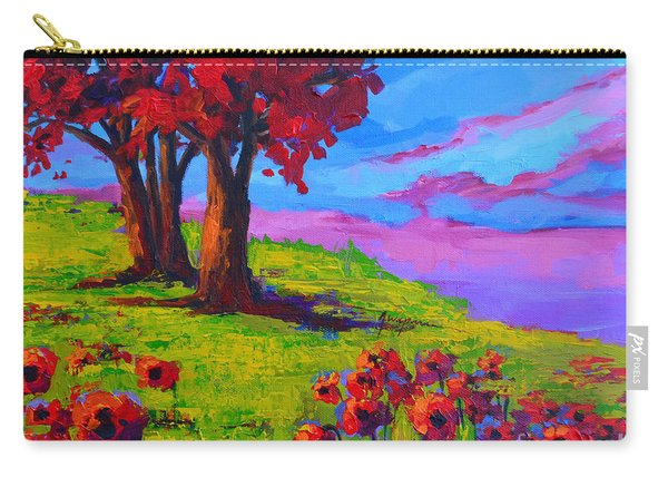 Poppy Field Modern Landscape Colorful Palette Knife Work  Carry-all Pouch