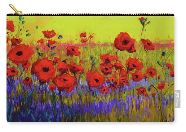 Poppy Flower Field Oil Painting With Palette Knife Carry-all Pouch