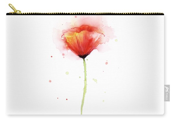 Poppy Watercolor Red Abstract Flower Carry-all Pouch