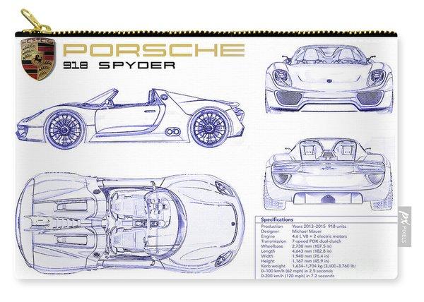 Porsche 918 Spyder Blueprint Carry-all Pouch