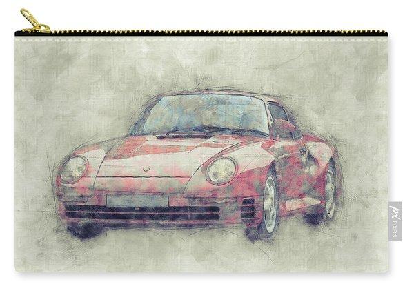 Porsche 959 - Sports Car 1 - Roadster - 1986 - Automotive Art - Car Posters Carry-all Pouch