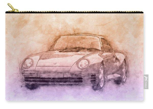 Porsche 959 - Sports Car 2 - Roadster - 1986 - Automotive Art - Car Posters Carry-all Pouch