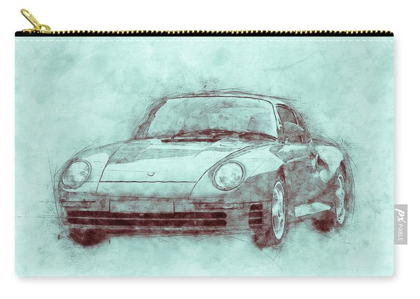 Porsche 959 - Sports Car 3 - Roadster - 1986 - Automotive Art - Car Posters Carry-all Pouch