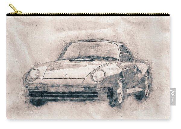Porsche 959 - Sports Car - Roadster - 1986 - Automotive Art - Car Posters Carry-all Pouch