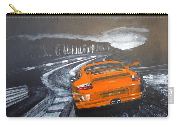 Carry-all Pouch featuring the painting Porsche Gt3 @ Le Mans #3 by Richard Le Page