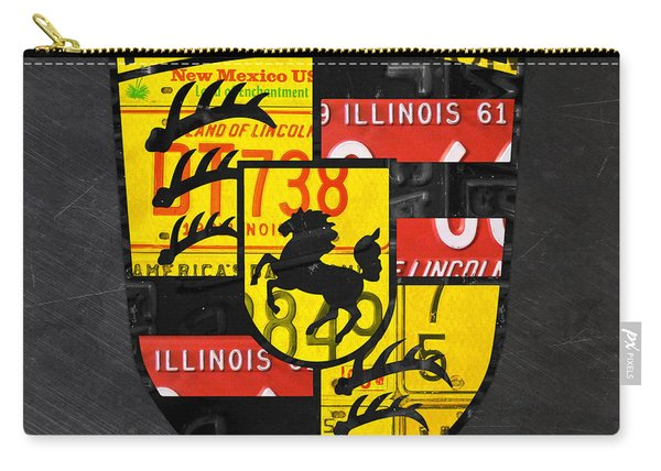 Porsche Sports Car Logo Recycled Vintage License Plate Car Tag Art Carry-all Pouch