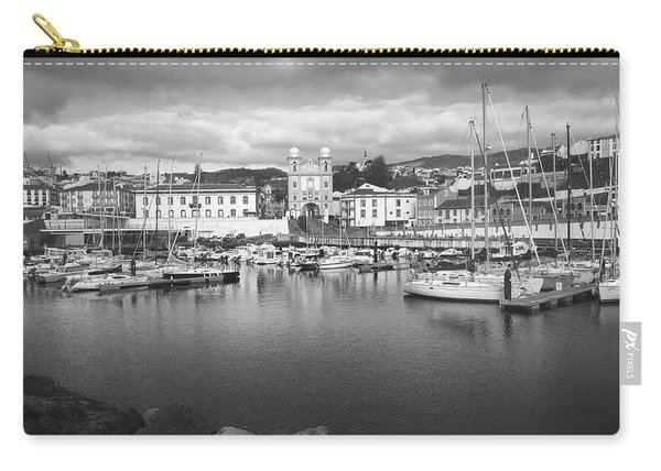 Port Of Angra Do Heroismo, Terceira Island, The Azores In Black And White Carry-all Pouch