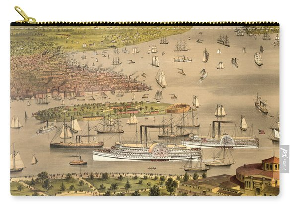 Port Of New York, Birds Eye View From The Battery Looking South, Circa 1878 Carry-all Pouch