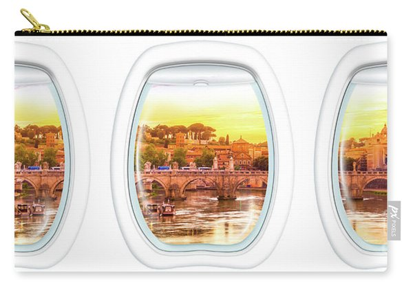 Carry-all Pouch featuring the photograph Porthole Windows On Rome by Benny Marty