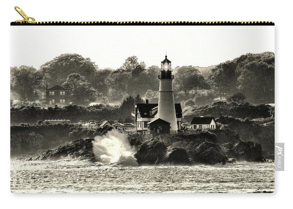 Portland Head Light At Cape Elizabeth In Black And White Carry-all Pouch