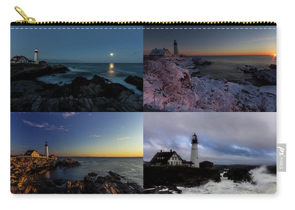 Portland Head Light Day Or Night Carry-all Pouch