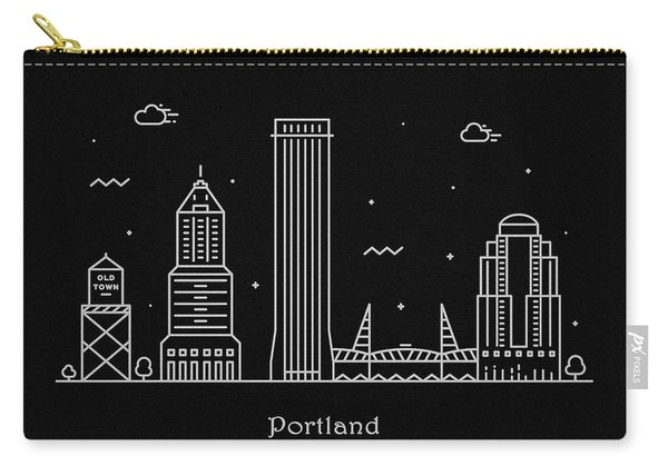 Portland Skyline Travel Poster Carry-all Pouch