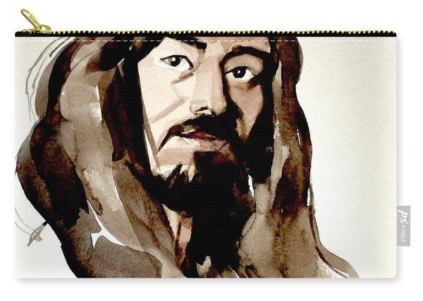 Watercolor Portrait Of A Man With Long Hair Carry-all Pouch