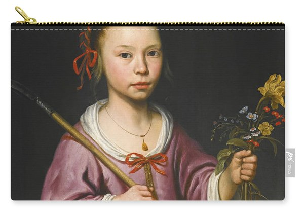 Portrait Of A Young Girl As A Shepherdess Holding A Sprig Of Flowers Carry-all Pouch