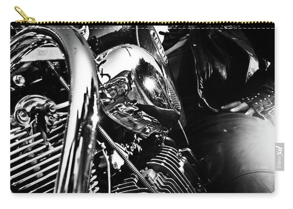Portrait Of Biker Man Sitting On Motorcycle - Black And White Carry-all Pouch