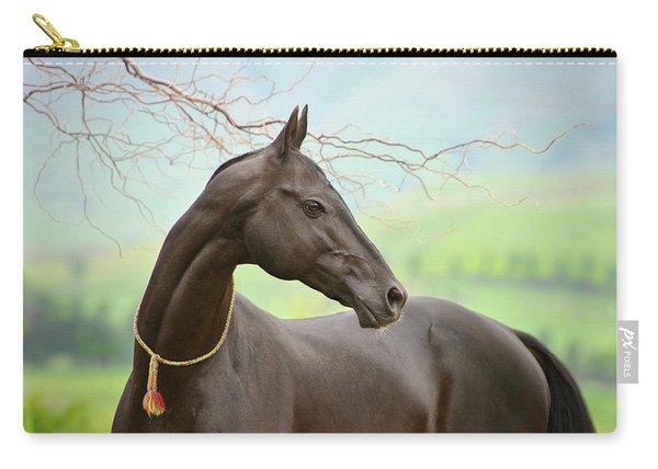 Portrait Of Black Akhalteke Carry-all Pouch